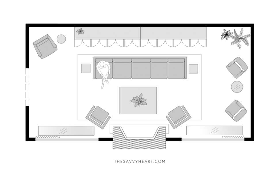 12 Furniture Layout Ideas for a Large Living Room, with Floor Plans .. | living room floor plan