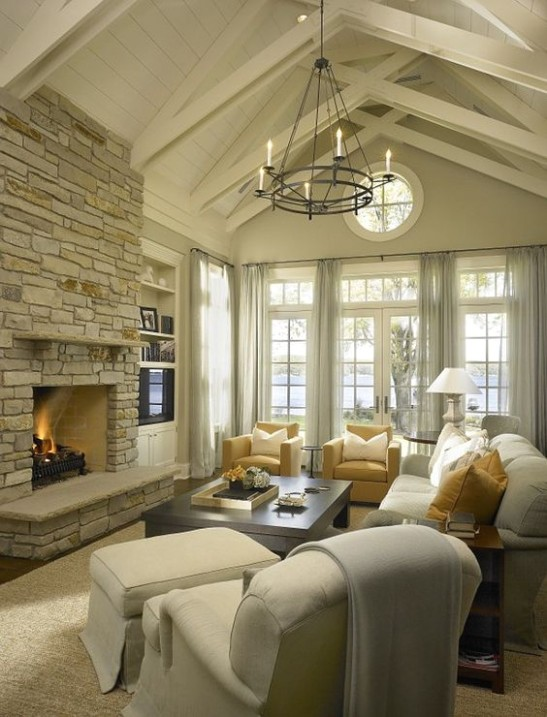 14 Charming Living Room Designs With Vaulted Ceiling | French .. | living room vaulted ceiling