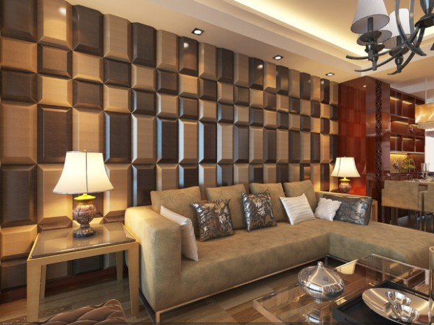 14D Leather Tiles for Living Room Wall Designs - Modern - Living .. | living room wall design