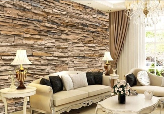 14D Wallpaper Bedroom Living Mural Roll Modern Faux Brick Stone Wall USA  Stock - living room 3d wallpaper | living room 3d wallpaper