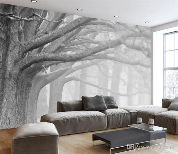 14D Wallpaper Living Room Bedroom Murals Modern Black And White Forest Tree  Art TV Wall Murals Wallpaper For Walls 14 D Movie Wallpaper Movie Wallpapers  .. | living room 3d wallpaper