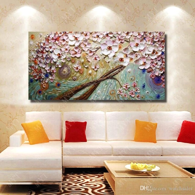 16 Modern Living Room Wall Decor Beautiful Flower Oil Painting Modern  Canvas Art Hand Painted Knife Painting No Framed From Watchsaler, $16.16 |  .. | living room paintings
