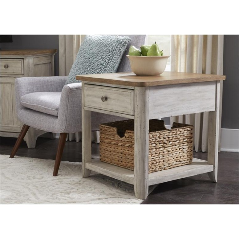 16-ot16 Liberty Furniture Farmhouse Reimagined End Table With Basket - living room end tables | living room end tables