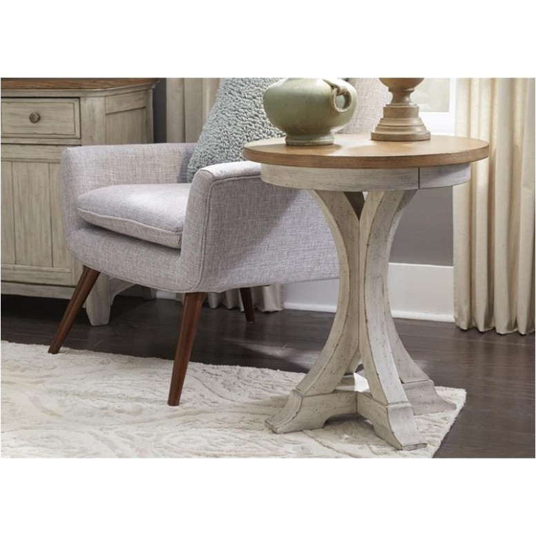 16-ot16 Liberty Furniture Farmhouse Reimagined Round Chair Side Table - living room end tables | living room end tables