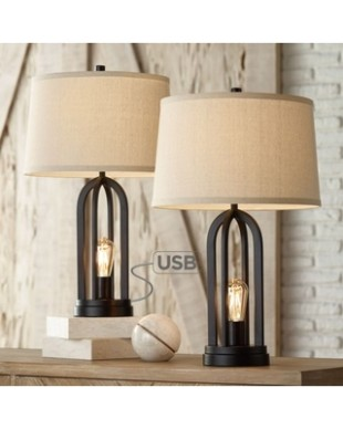 17 Lighting 17 Lighting Modern Industrial Table Lamps Set of 17 with  Nightlight LED USB Port Black Linen Shade for Living Room Bedroom from  Wal-Mart .. | living room lamp sets