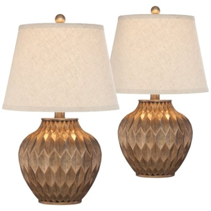 17 Lighting Modern Accent Table Lamps Set of 17 Warm Bronze Geometric Urn  Tapered Drum Shade for Living Room Family Bedroom Office - living room lamp sets | living room lamp sets