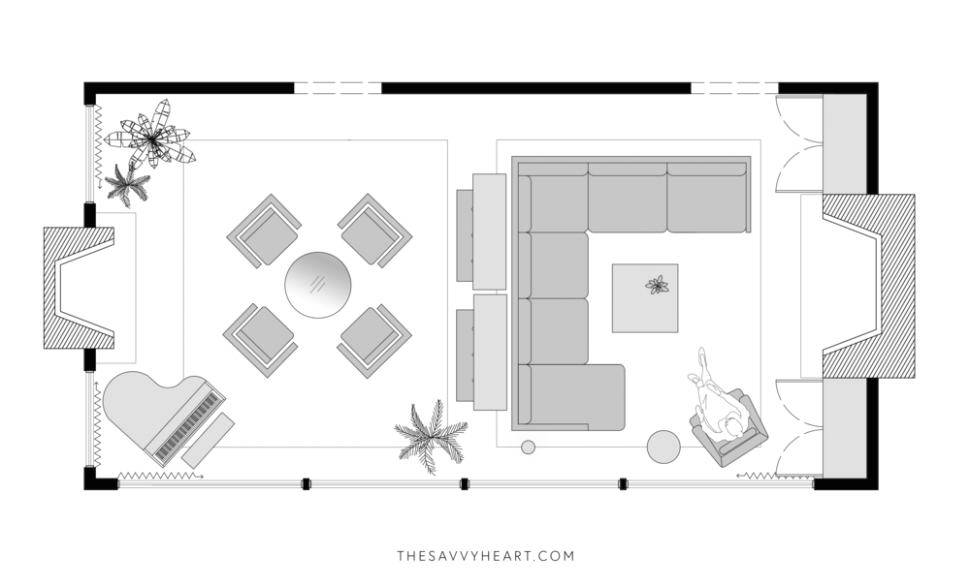 19 Furniture Layout Ideas for a Large Living Room, with Floor Plans ..   living room plan