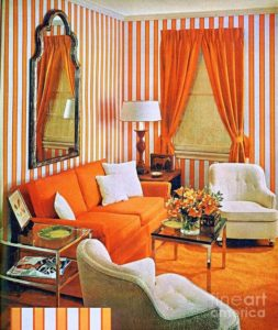 20 20 Stylish Living Room Advertisement Orange And Stripes Groovy Baby | living room 1960