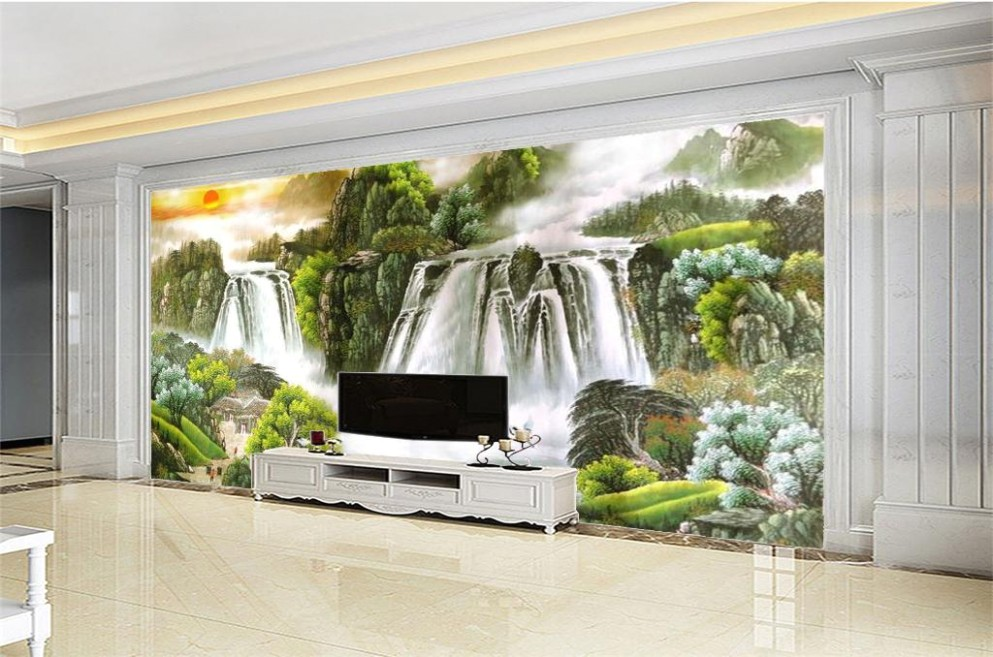 21d Wallpaper Living Room Beautiful Scenery Large Waterfall 21d Beautiful  Scenery Wallpaper Decorative Wall Moisture Proof Beautiful Wallpaper Girl  .. | living room wallpaper
