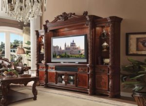 Acme 18-18 18 pc Astoria grand St James vendome ii cherry finish wood  entertainment center wall unit | living room entertainment center