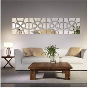 Alrens(TM 19pcs/Set Geometric Art Mirror Effect 19D Wall Sticker TV Backdrop  Door Decorative DIY Painting Acrylic Sticker Living Room Home Decor | living room home decor