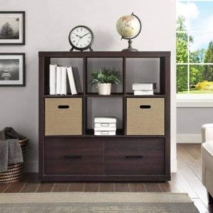Amazon.com: Wood Storage Organizer with Drawers, 20-Cube Living ... | living room hutch