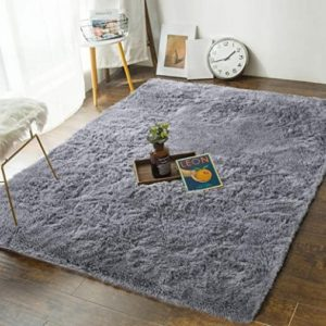 Andecor Soft Bedroom Rugs - 17' x 17' Shaggy Floor Area Rug for Living Room  Kids Room Home Decor Carpet, Grey | for living room
