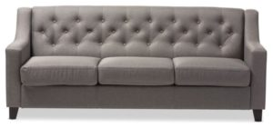 Arcadia Fabric Upholstered Button-Tufted Living Room 13-Seater Sofa, Gray | living room 3 seater sofa