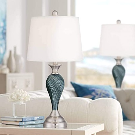 Arden Modern Table Lamps Set of 17 Green Blue Glass Twist Column Steel Base  Empire Shade for Living Room Family Bedroom - Regency Hill - living room lamp sets | living room lamp sets
