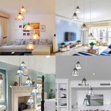 Art Glass Pendant Lamp with Bell/Cone/Dome/Trapezoid Shade Living Room 11  Lights Tiffany Style Hanging Light - living room hanging light | living room hanging light