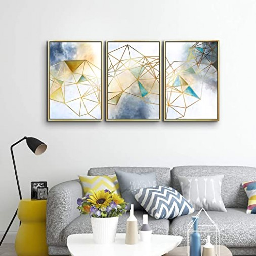 ARTLAND Geometric Wall Decor Abstract Canvas Wall Art Navy Blue Artwork for  Bedroom Gallery Wrapped Canvas Giclee Print with White Golden Picture ... | living room wall art