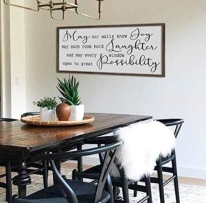 bawansign May Our Walls Know Joy Sign Home Wall Decor Living Room Sign  Large Dining Room Sign Farmhouse Wall Art Framed Sign | living room wall decor