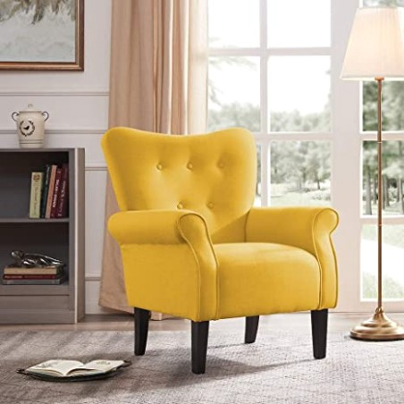 BELLEZE Modern Accent Chair Roll Arm Linen Living Room Bedroom Wood Leg  (Citrine Yellow) - living room chairs | living room chairs