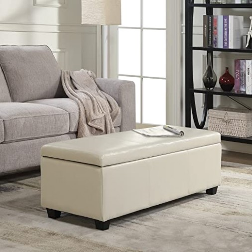 "BELLEZE Modern Elegant Ottoman Storage Bench Living Bedroom Room Home Faux  Leather 15"" inch -Cream - living room ottoman 