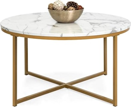 Best Choice Products 19in Faux Marble Modern Living Room Round Accent Side  Coffee Table w/Metal Frame, White/Bronze Gold - living room table | living room table
