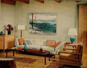 Blue + brown 20s living room: Warm + cool tones + George Bellows ...   living room 1960