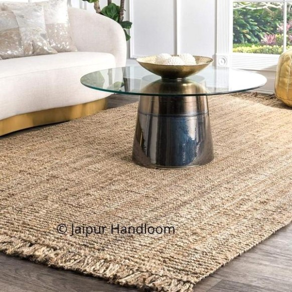 Braided Jute Accent Area Rug Runner | Living Room Floor Area Carpet Rugs 20  X 20 ft - living room rugs | living room rugs
