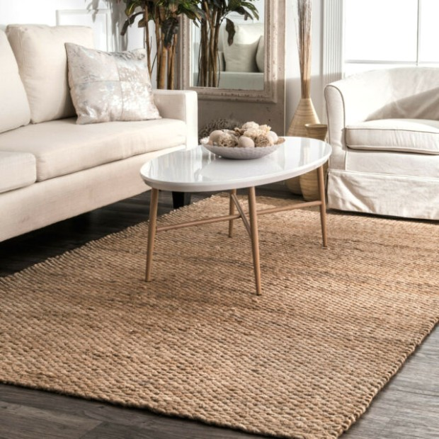 Braided Rug Natural Fibers Solid Rugs Indoor Living Room Kitchen Jute Mats  New - living room rugs | living room rugs