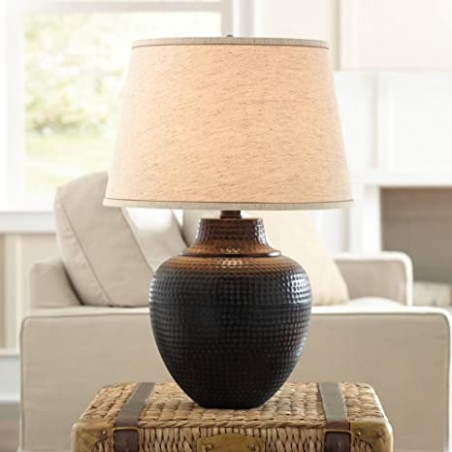Brighton Rustic Table Lamp Hammered Bronze Metal Pot Beige Linen Drum Shade  for Living Room Family Bedroom Nightstand - Barnes and Ivy - living room lamps | living room lamps