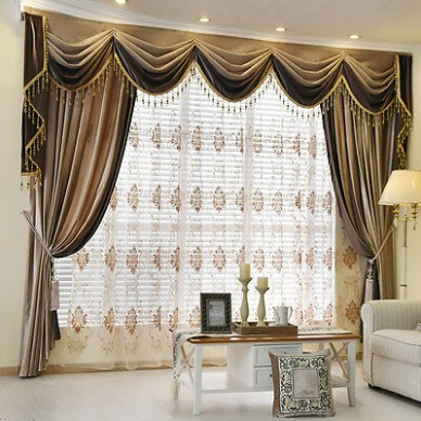 Brown Plain Chenille Waterfall and Swag living room Valance Curtains  customize | eBay - living room valances | living room valances