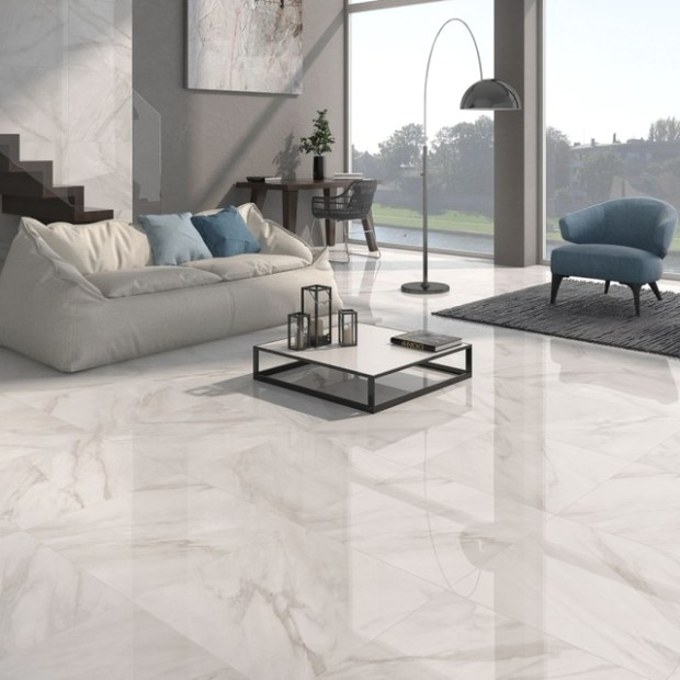 Calacatta White Gloss Floor Tiles - Grey Design - Direct Tile .. | living room floor tiles