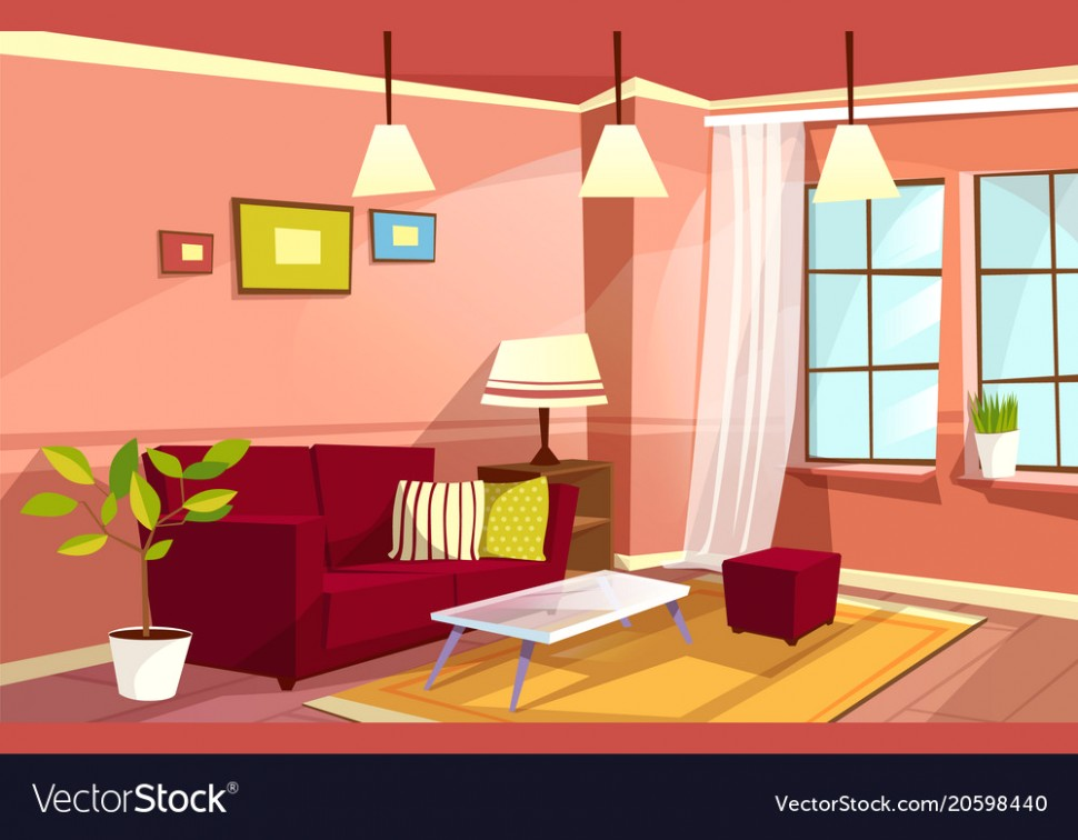 Cartoon living room apartment interior - living room cartoon | living room cartoon