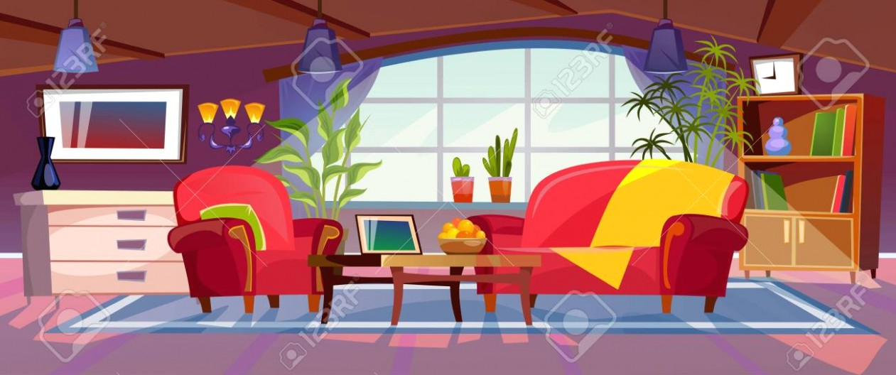 Cartoon living room interior view. Empty colorful room design. | living room cartoon