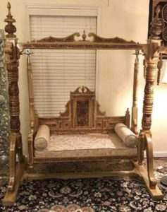 Carved Walnut Indian Swing / Jhula for Living Room | living room jhula