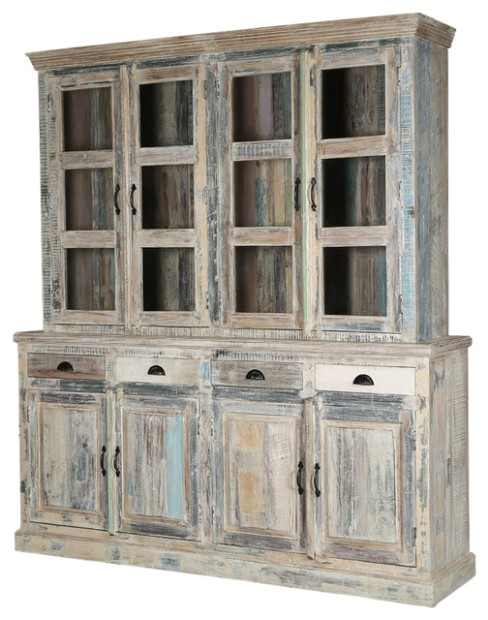 Cavea Country Winter White Rustic Reclaimed Wood Dining Room Hutch - living room hutch | living room hutch