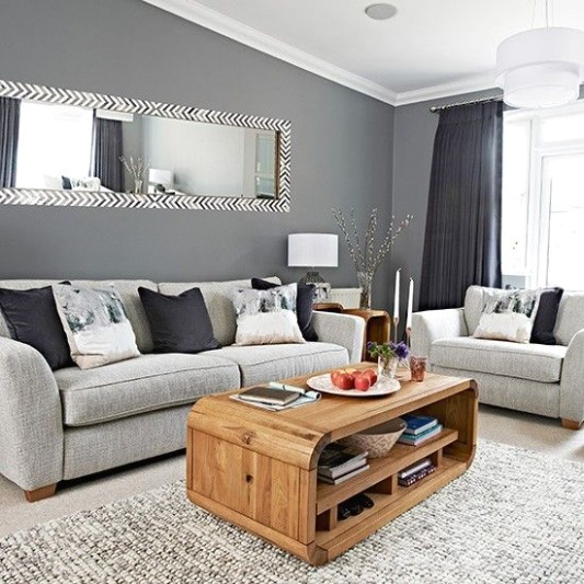Chic grey living room with clean lines in 14 | Living room grey .. | living room grey