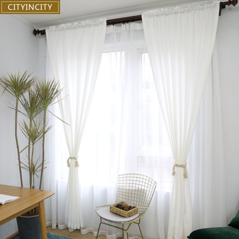 CITYINCITY white Curtains for Living room Rideaux Modern sample Korean  Style Window Curtain for Bedroom kitchen Customized - living room curtains | living room curtains