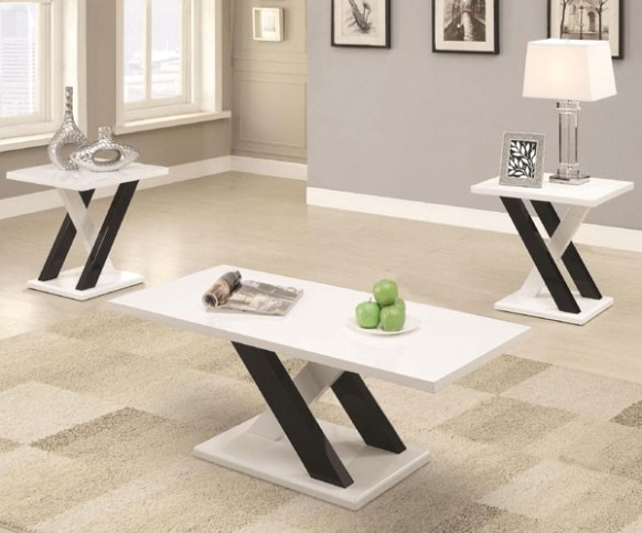 Coaster 14 PC High Gloss Black & White Occasional Table Set - living room 3 piece table set | living room 3 piece table set