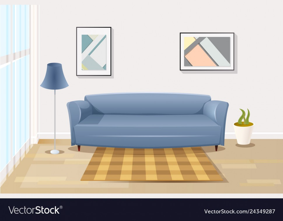 Comfortable sofa in living room cartoon - living room cartoon | living room cartoon