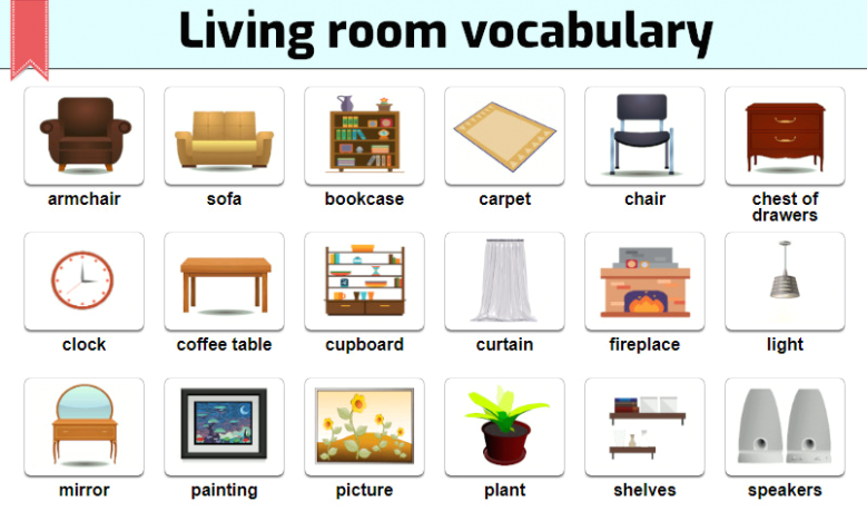 Common things in the living room - English Vocabulary - living room things   living room things