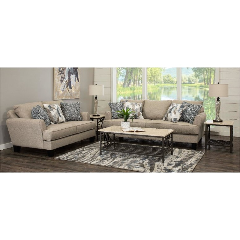 Contemporary Linen Beige 15 Piece Living Room Set - Bryn - living room 7 piece sets | living room 7 piece sets