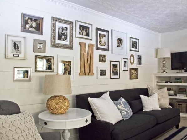 Creating a Long Gallery Wall | Cottage style living room, Living .. | living room gallery wall