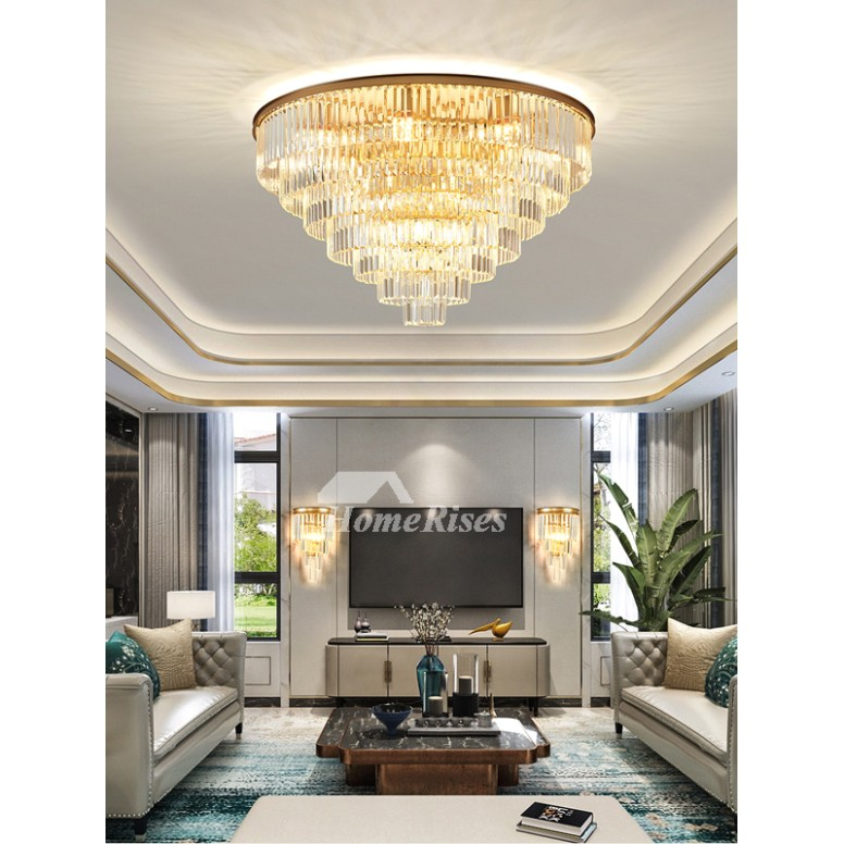 Crystal Pendant Gold Round Contemporary Ceiling Light Fixture Living Room  Luxury Bar Counter Living Room | living room hanging light