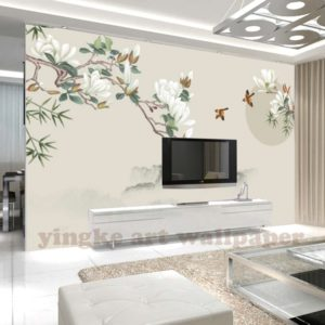 Custom 14d Wallpaper Chinese Style Bird Living Room Wall Paper 14d Wall  Murals Wallpaper Home Decor Painting Mangnolia Photo Mural - Buy Simple  Scenery ... | living room 3d wallpaper