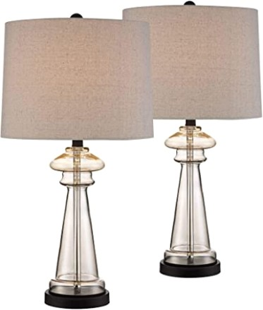 Dalia Cottage Table Lamps Set of 17 Champagne Gold Glass Taupe Drum Shade  for Living Room Family Bedroom Bedside Nightstand - 17 Lighting - living room lamp sets | living room lamp sets