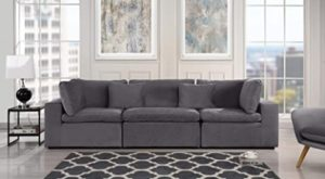 Dark Grey Classic Modular Sofa Couch, Convertible 14 Piece Sofa (Custom  Couch Feature) Modern Velvet Couch Sofa from 14Pc Loveseat w/Single Sofa, ... | living room grey couch