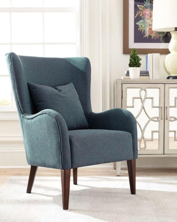 Dark Teal Winged Accent Chair – living room chairs