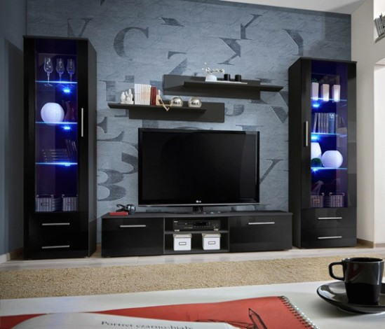 Details about Telia 19 - black living room furniture / entertainment center  cabinet / tv stand - living room tv | living room tv