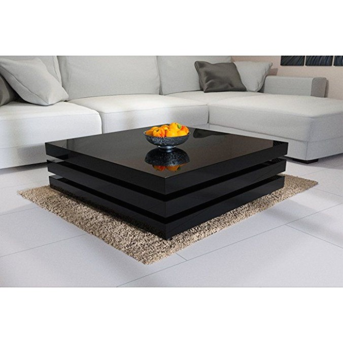 Deuba® Rotatable Coffee Table, High Gloss Black - Modern End Side .. | living room table
