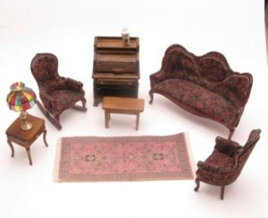 Dollhouse Living Room set with sofa, 21 chairs, rolltop desk, table and  lamp, rug | living room 2 chairs